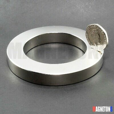 1 NEODYMIUM MAGNET DISC RING LARGE STRONG 75x49x10 / 75mm x 49 hole x 10mm