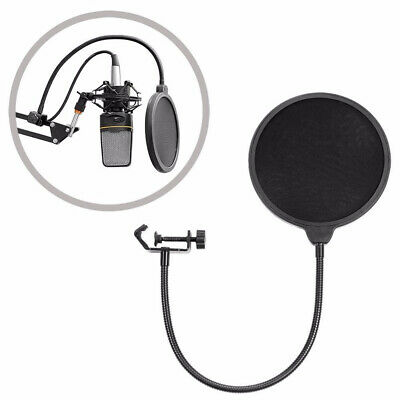 Large Size Double Layer Microphone Pop Filter Mic Wind Screen Mask Shield EW