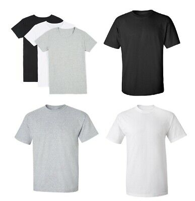 Men's Cotton Plain Blank T-shirt Basic Tee White Black Grey sizes XS - XXXL NEW