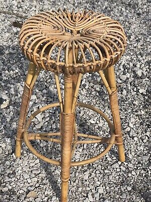 A Vintage Tall Stool From Franco Albani Made In Bamboo Rattan