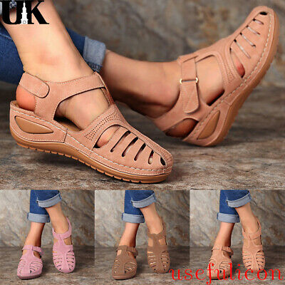New Womens Sandals Ladies Gladiator Wedge Holiday Casual Comfort Shoes Size 4-7
