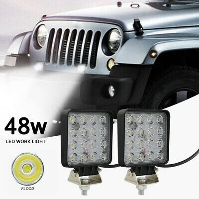 2X48W LED Work Flood Square Spot 12V 24V Off Lights Road Truck 4x4 Boat SUV Lamp