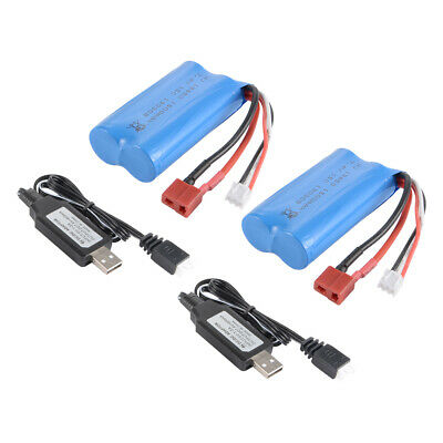 2x 7.4V 1500mAh 18650 Battery Pack W/ T Plug +USB Charger for WLtoys 12428 BC922