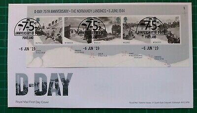 2019 75th Anniversary D-Day Miniature Sheet on FDC Portland changeable date pmk