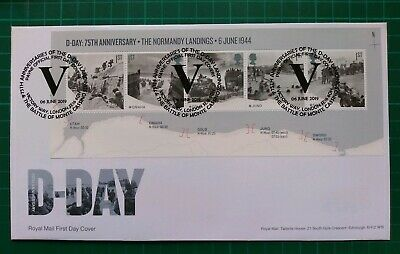 2019 75th Anniversary D-Day Miniature Sheet on FDC V Victory Way Monte Cassino