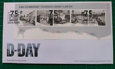 2019 75th Anniversary D-Day Miniature Sheet on FDC 75 D-Day Portsmouth pmk