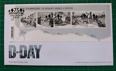 2019 75th Anniversary D-Day Barcode M/S on FDC Southsea Portsmouth pmk
