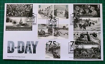 2019 75th Anniversary D-Day ALL 11 Stamps FDC 75 D-Day Portsmouth postmark