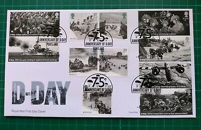 2019 75th Anniversary D-Day ALL 11 Stamps FDC Portland Changeable Date postmark