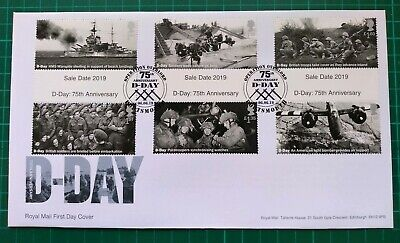 2019 75th Anniversary D-Day ALL Gutter Set of 6 on FDC Overlord Portsmouth pmk