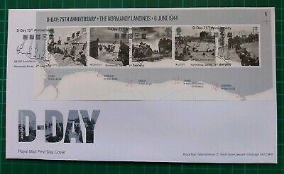 2019 75th Anniversary D-Day Miniature Sheet on FDC Normandy Surrey pmk
