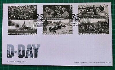 2019 75th Anniversary D-Day ALL Set of 6 on FDC 75 D-Day Portsmouth pmk