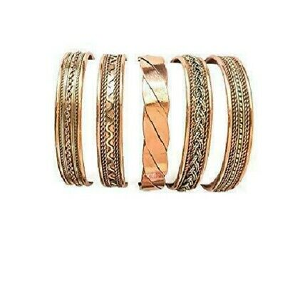 Set Of 5 Tibetan Magnetic Adjustable Indian Spiritual Jewelry Copper Bracelet
