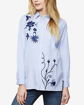 Nwt Motherhood Maternity Cotton Stripe Embroidered Shirt Tunic Size Xl