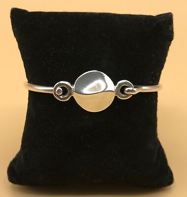 925 Taxco Mexico Sterling Silver Wavy Bangle Bracelet with Tension Clasp