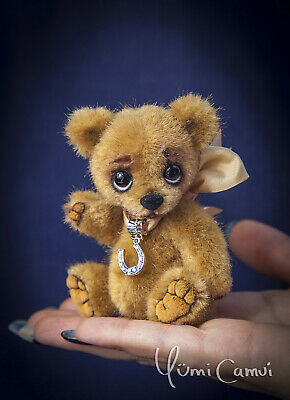 Cute Mini jointed Teddy Bear artist handmade OOAK by Yumi Camui