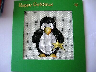 "Christmas Card Completed Cross Stitch Penguin & Star 5.5""sq"