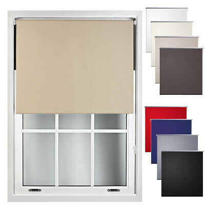 Thermal Blackout Roller Blind BLACK OUT Window Darkening Blinds Easy Fit Sizes