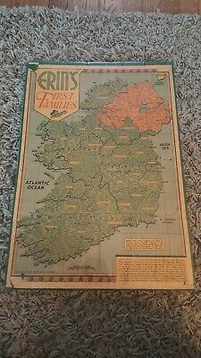 VINTAGE MAP of ERIN's FIRST FAMILIES  OLD IRELAND 1957 RARE Man cave pub office