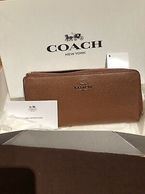 New Coach Embossed texture Leather Slim Zip Wallet Olive Gray 50923 $165 W//Tag
