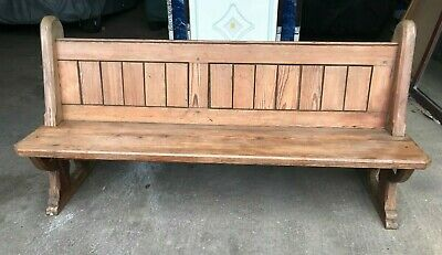 Antique pine chapel church pew carved bench settle seating kitchen dining
