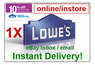 LOWES 10% OFF Promo.1Coupon Code Online/Instore (sent within 30s)