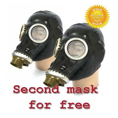 2 Black Gas masks GP-5 Size-2 Medium Soviet Russian Military New Only mask