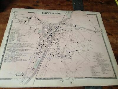 1867 Original antique map of Seymor ,Connecticut, from Beers atlas Hand Colored