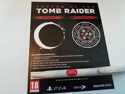 Shadow Of The Tomb Raider UK Sony PS4 Season Pass Outfits Weapons Pack DLC Only