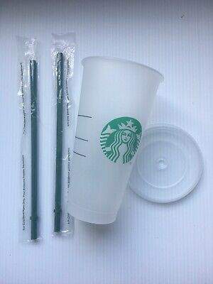 Starbucks Reusable Plastic 24oz Venti Cold Cup with Lid and 2 Straws