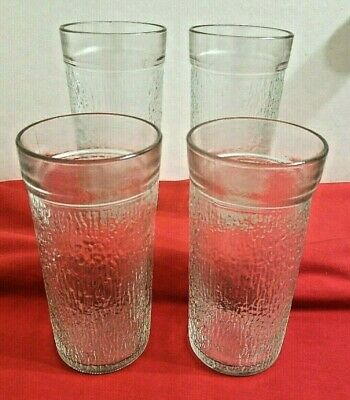 Vintage Kerr Clear Tree Bark Pattern Tumblers Drinking Glasses 1960's Set Of 4