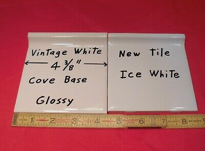"1 pc. Cove-Base Ceramic Tile *Vintage White* 4-3/8"" Glossy stack tile on top:NOS"