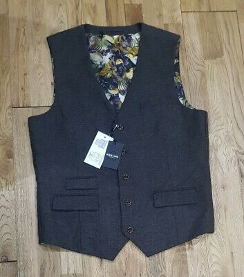 BLACK LABEL from JACAMO tweed suit waistcoat in BROWN all sizes RP £45