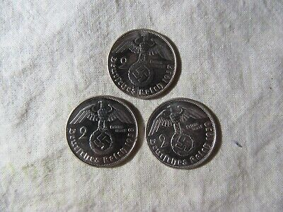 Germany  1937, 1938, 1939  2 Mark Coins   3 Coins