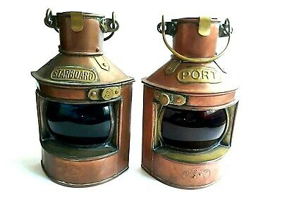 Vintage Tung Woo Copper Port & Starboard Nautical Ship Oil Lamps Lanterns Pair