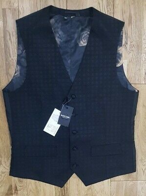 BLACK LABEL from JACAMO suit waistcoat in BLACK JAQUARD all sizes RP £45