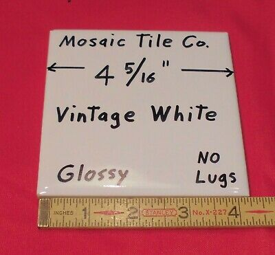 """1 pc. Vintage *Vintage White * Glossy Ceramic Tiles  4-5/16"""" by Mosaic Co.  NOS"""