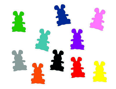 10x Iron-On Patch Easter Miniblings 25mm Flock Bunny Rabbit Standing