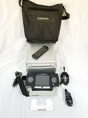 """Audiovox VBP3000 Portable Car VHS Player VCR w/ Two 5"""" Dual LCD Screens and Case"""