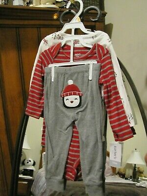 Baby Boy CARTERS Red Striped 3-Piece Penguin Set 12 Months Brand New