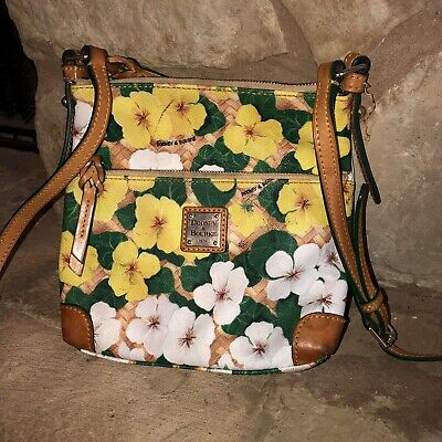cd8fb20bb Dooney & Bourke Crossbody Yellow Floral Pansies Letter Carrier Bag Summer  Purse
