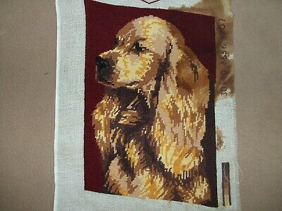 Regal Cocker Spaniel Featured On A Vintage Needlepoint Piece