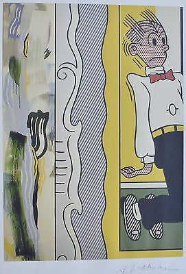 """ROY LICHTENSTEIN """"Two Paintings: Dagwood"""" MATTED LITHO PLATE SIGNED"""