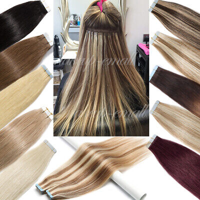 Invisible Russian Tape In Thick-Glue Remy Human Hair Extensions Mix Colour AU