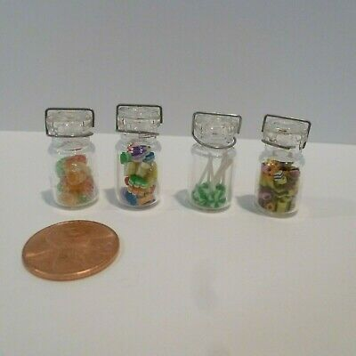 Set Of 4 Miniature Glass Jars Filled With Handmade Candies By Lola Originals