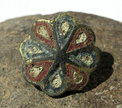 Ancient Byzantium bronze button with enamels 10-13 centuries