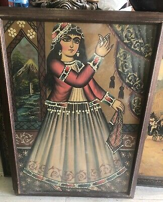 19th Century Qajar Painting Titled Rameshgar / The Entertainer Signed & Dated
