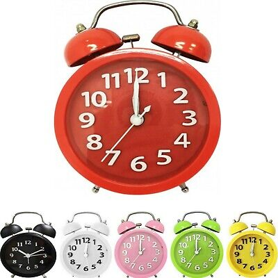 Alarm Clock Twin Bell Analogue Loud Travel Vintage Retro Bedside Table Battery
