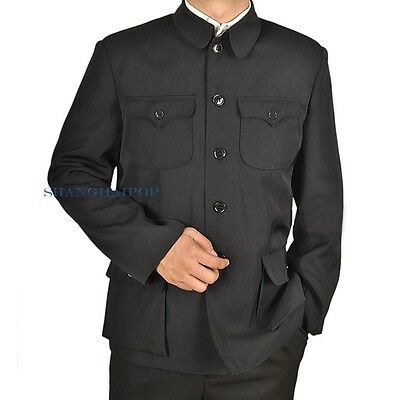 Men Single Breasted Jacket Mao Chinese Tunic Blazer Zhongshan Black Vintage New
