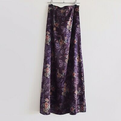 Vintage 90s Supre Purple Satin Floral Maxi Dress